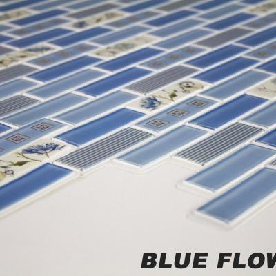 Panneau décoratif mural PVC 95x48cm, BLUE FLOWERS