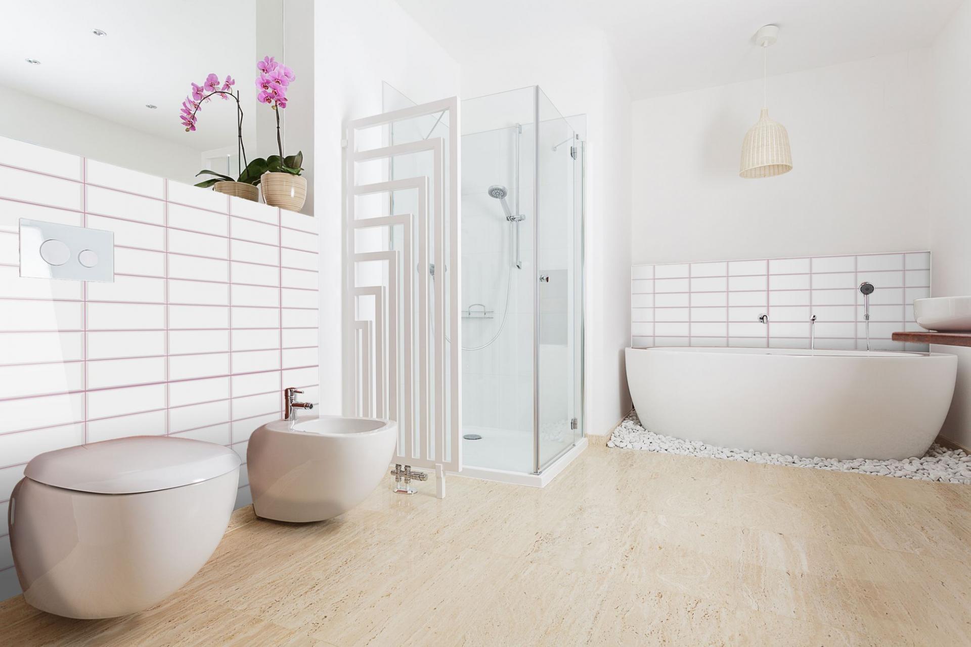 White tile pink seam